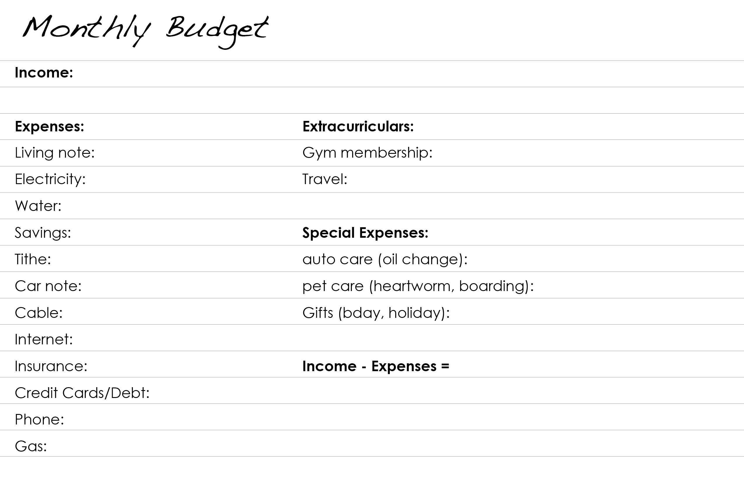 index budget sample
