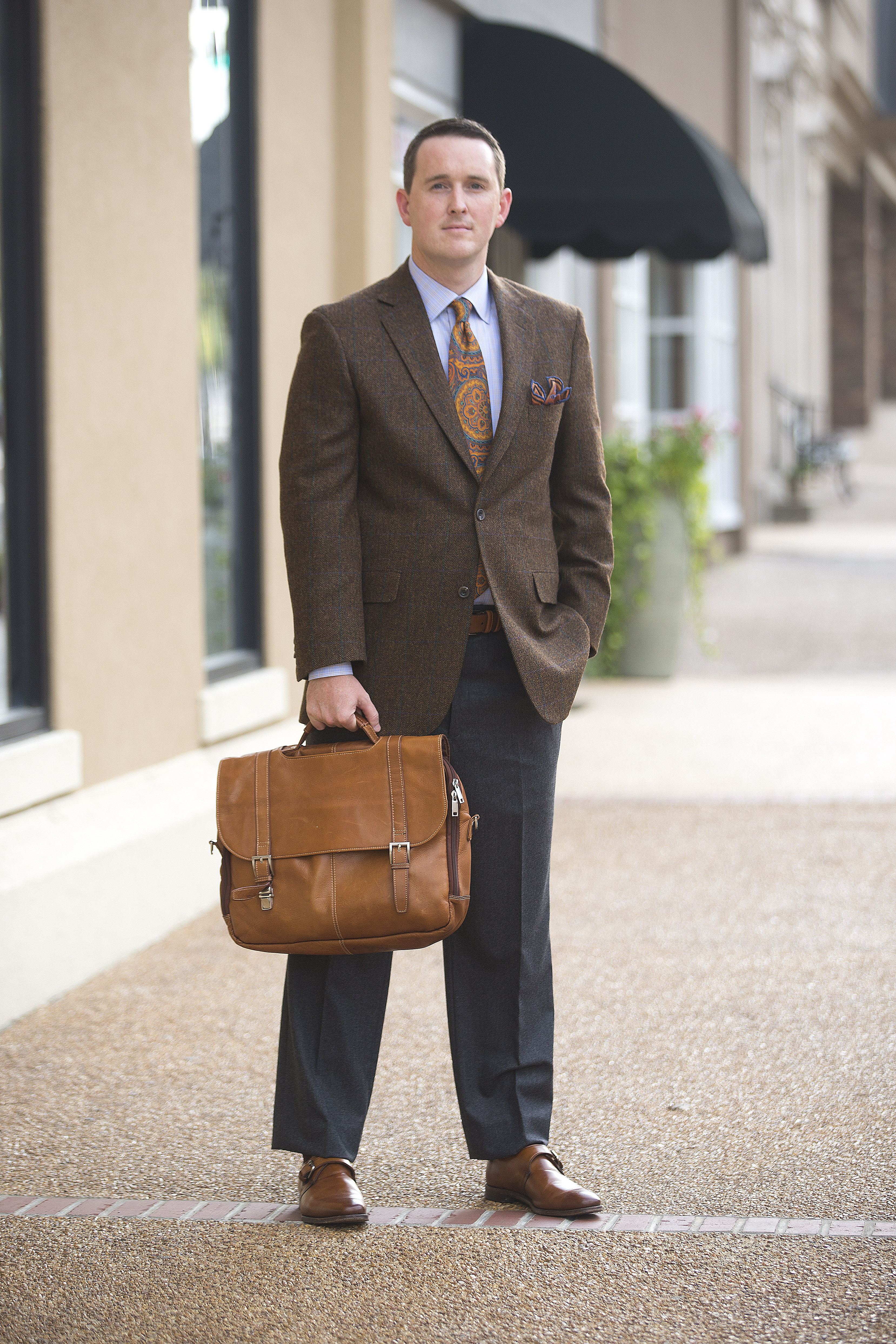 MLM in Tupelo: sport coat, dress shirt, wool dress pant, shoe and handmade silk tie, prices upon request