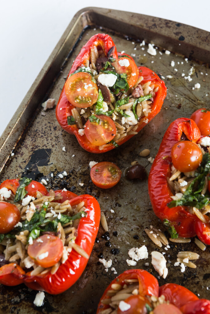 Greek Orzo Stuffed Red Peppers
