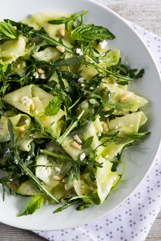 Zucchini Salad with Arugula, Feta & Pine Nuts